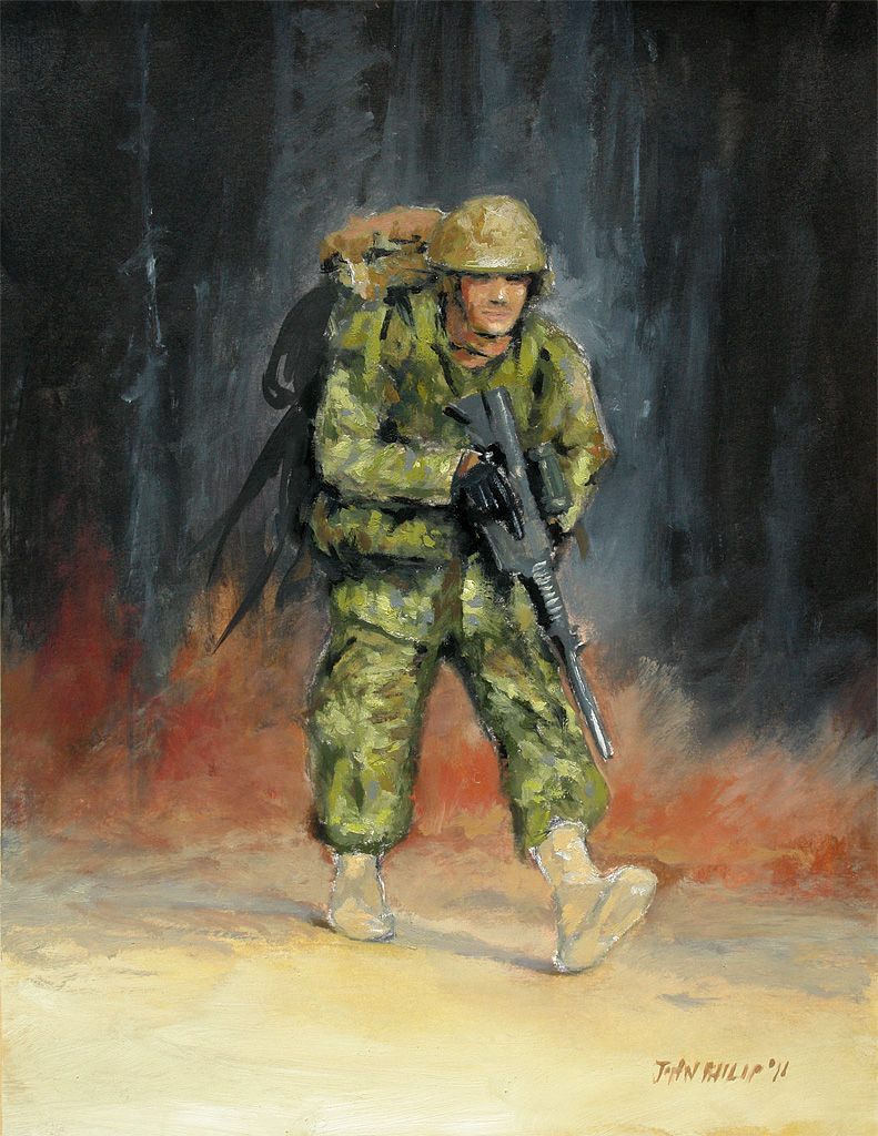 Oil painting of a Marching Military Man
