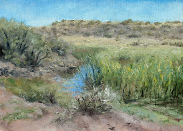 Plein air oil painting of a dam with reeds.
