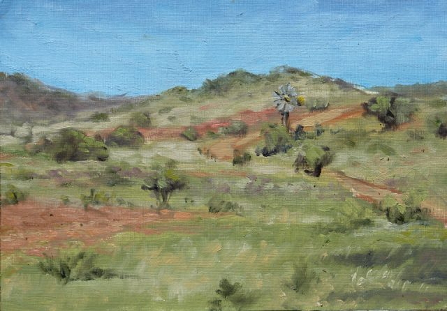 Quick oil sketch of the view of part of the farm