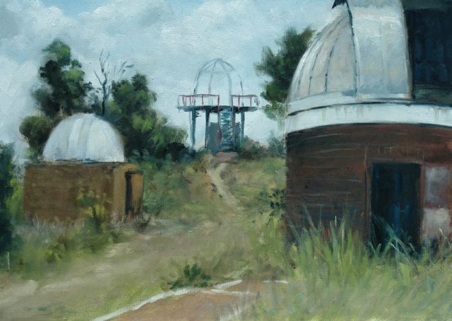 Oil painting of the Old Observatory buildings with Viewpoint of Johannesburg from the platform