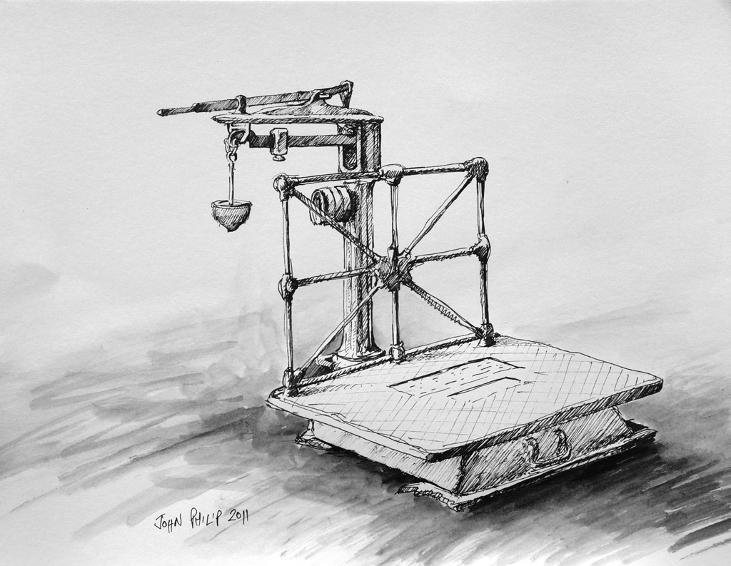 Pen and Ink of an old Fairbanks wool scale
