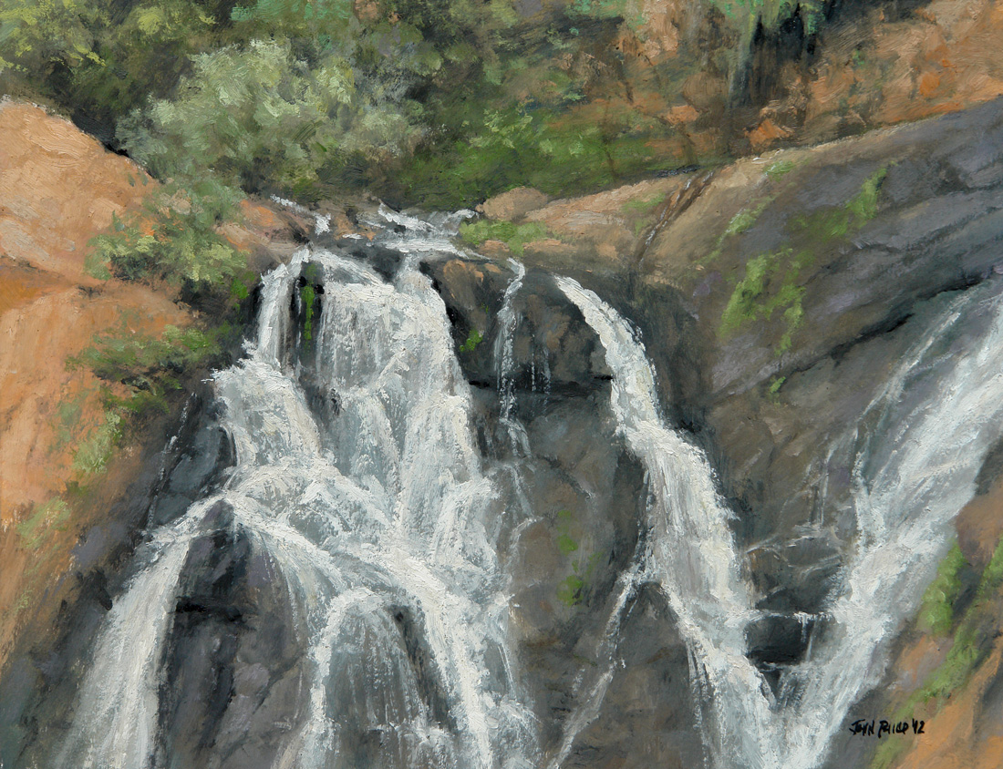 Plein air painting of the waterfall at the Witwatersrand Botanical Gardens