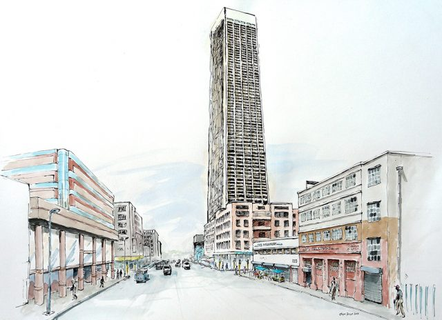 Pen & Ink Drawing of the Joburg Carlton Centre