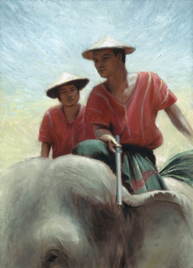 Oil Painting of Thai people riding Elephants