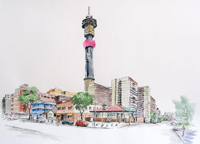 Pen & Ink drawing of Hillbrow Tower, Joburg, South Africa