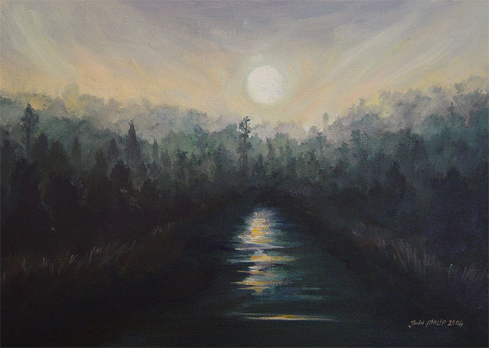 A dark and eery night sky painting of the moon reflecting on the water and a silhouetted forest on the banks of the river.