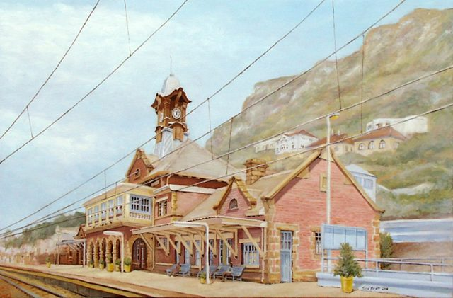 Oil Painting of Muizenburg Station