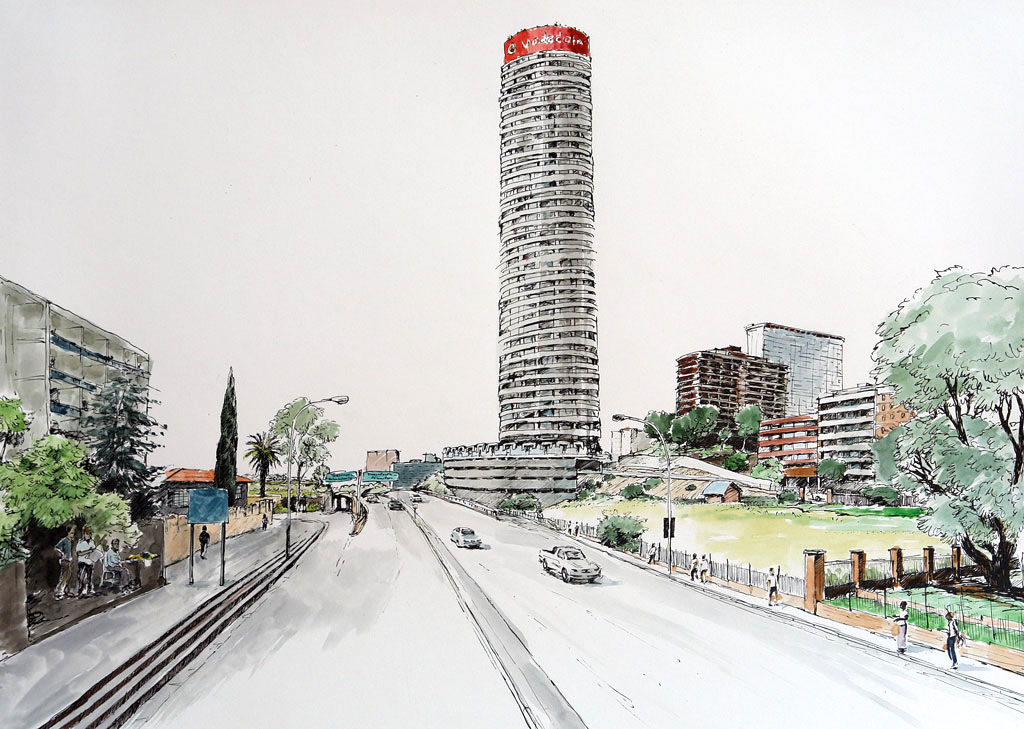 Pen & Ink Drawing of Ponte City Apartments