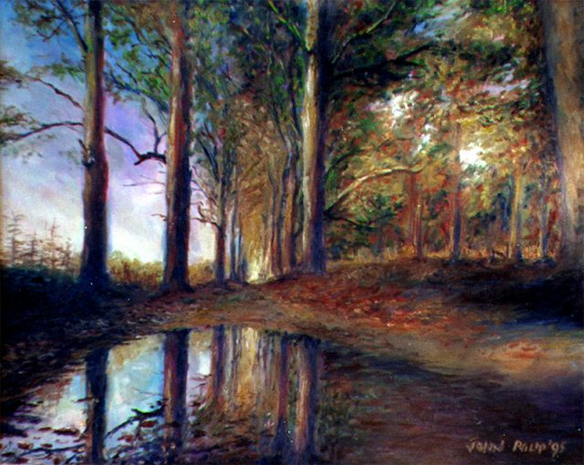 Painting of an autumn forest scene with a puddle in the road giving off a reflection.