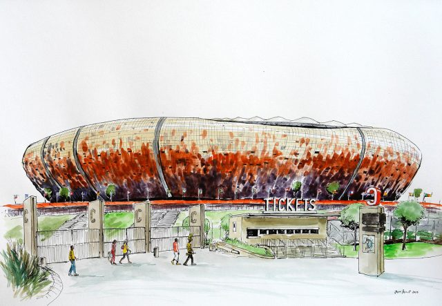 Pen & Ink Drawing of Soccer City, Soweto