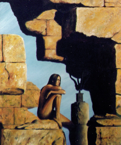 Oil Painting of a girl sitting on ruins at sun down.