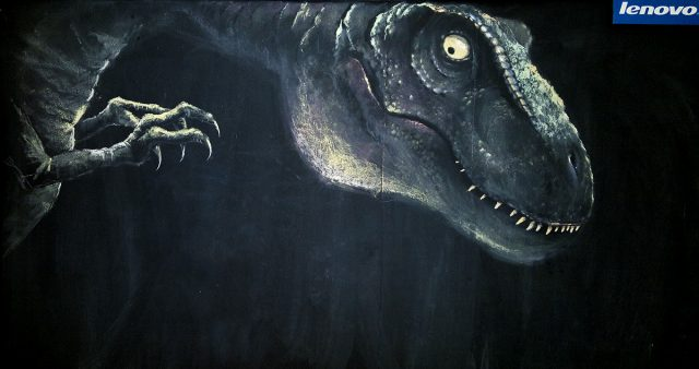 Chalk Drawing of a T-Rex