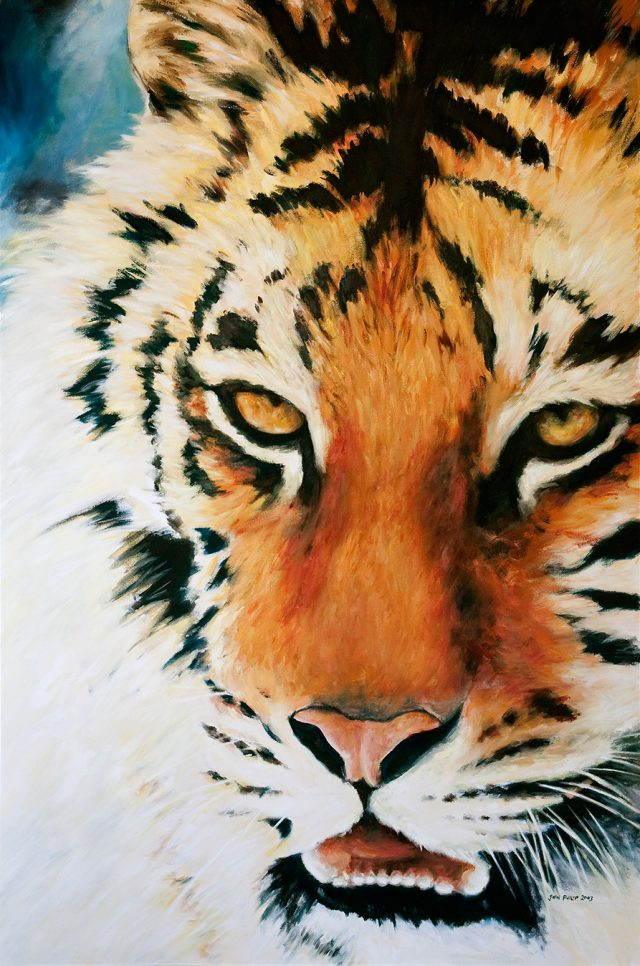 Portrait of a tiger - larger than life.