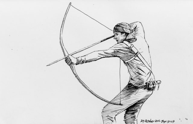 Ink drawing of an Archer with Bow and Arrow