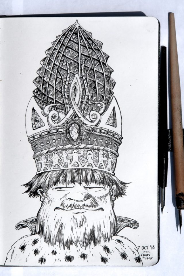 Pen and Ink of King David wearing the Ammonite Crown