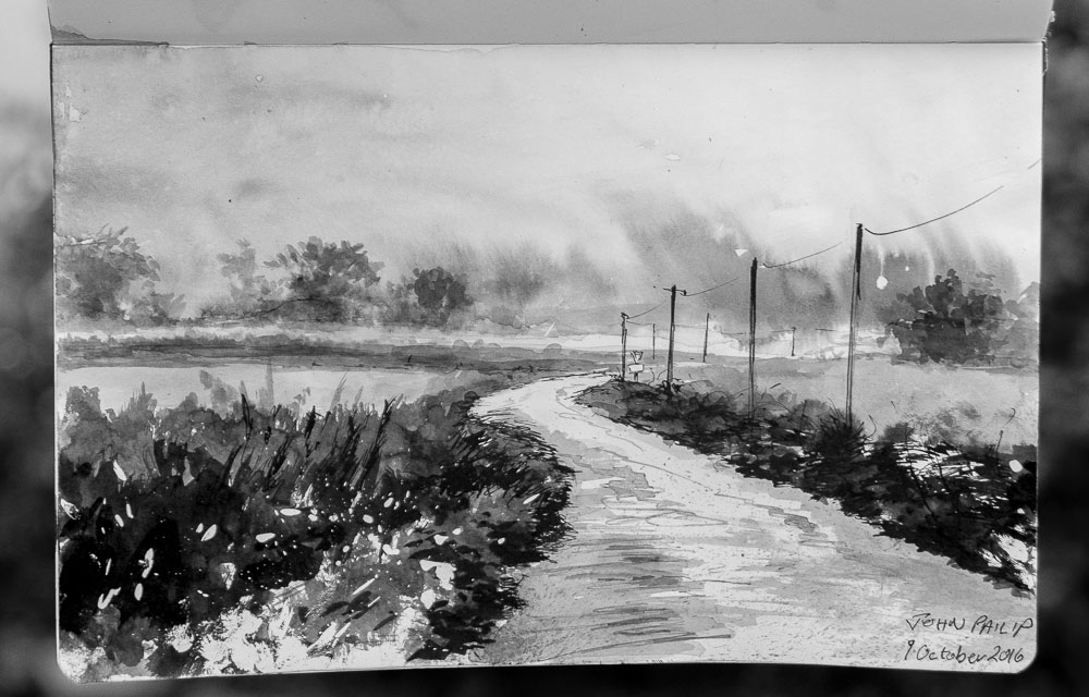 Brittany Road in Brush, Pen and Ink