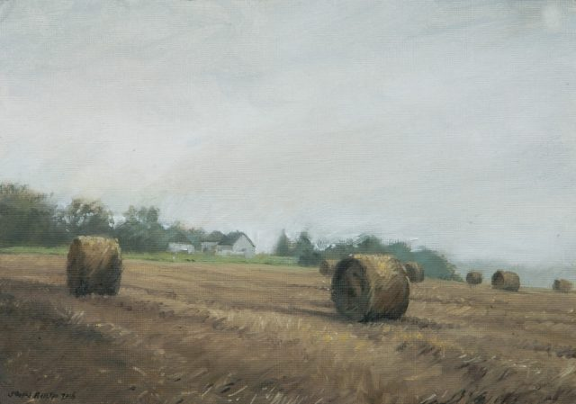 Oil painting of a farm landscape with bales