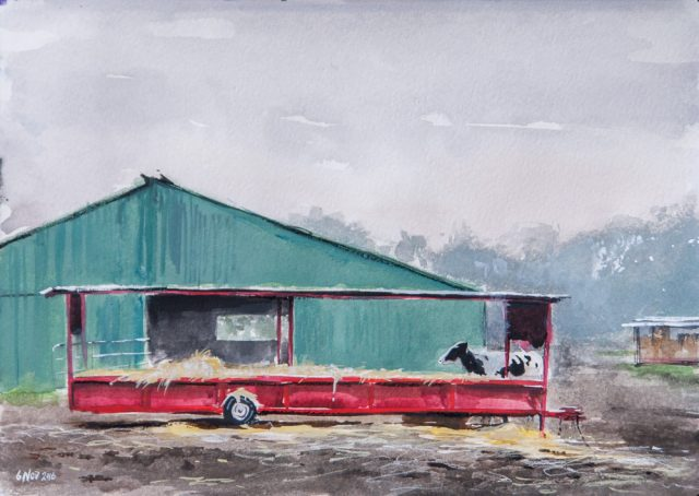 Painting of a cow feeding off a red trailer with a green trailer behind