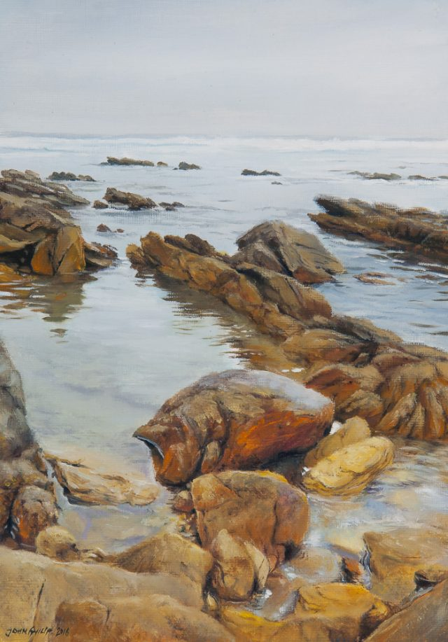 Oil painting of the seaside rock pools