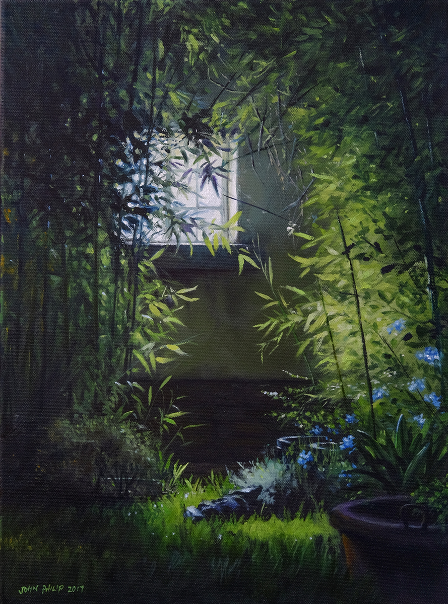 Painting of a night scene of window and bamboo.