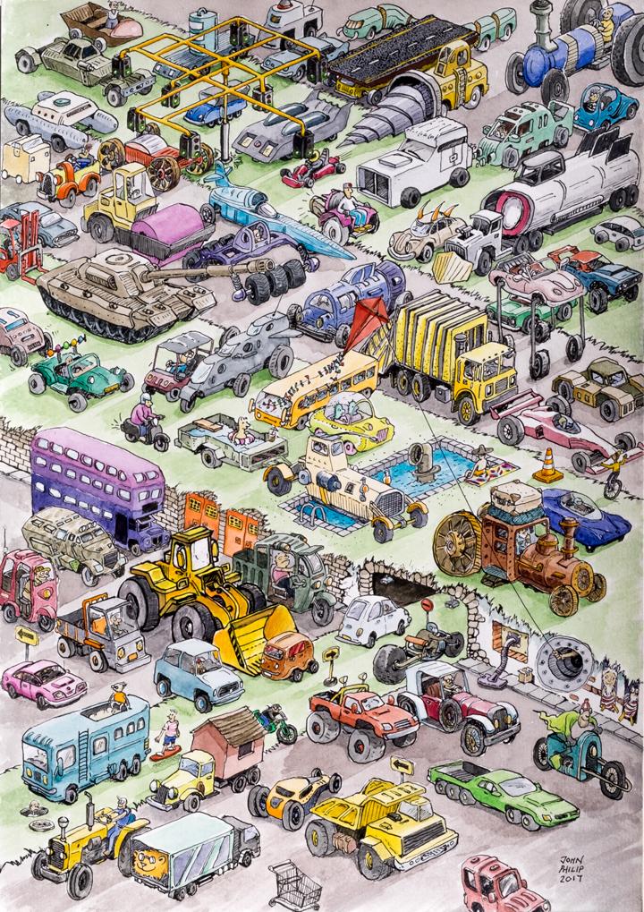 Illustration artwork of kinds of cars