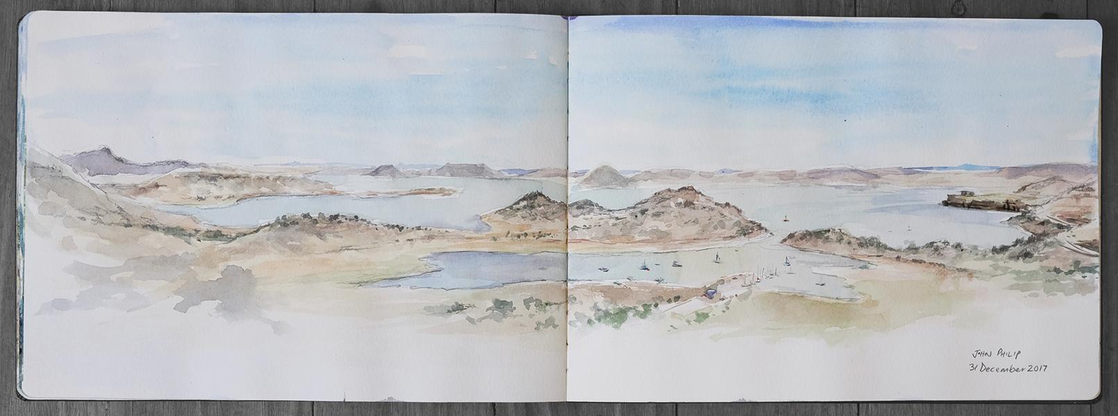 Gariep Dam Watercolour Painting By John Philip