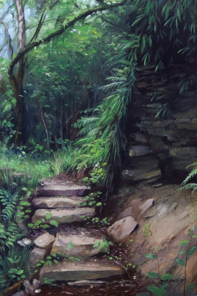 Oil painting of a forest trail with steps