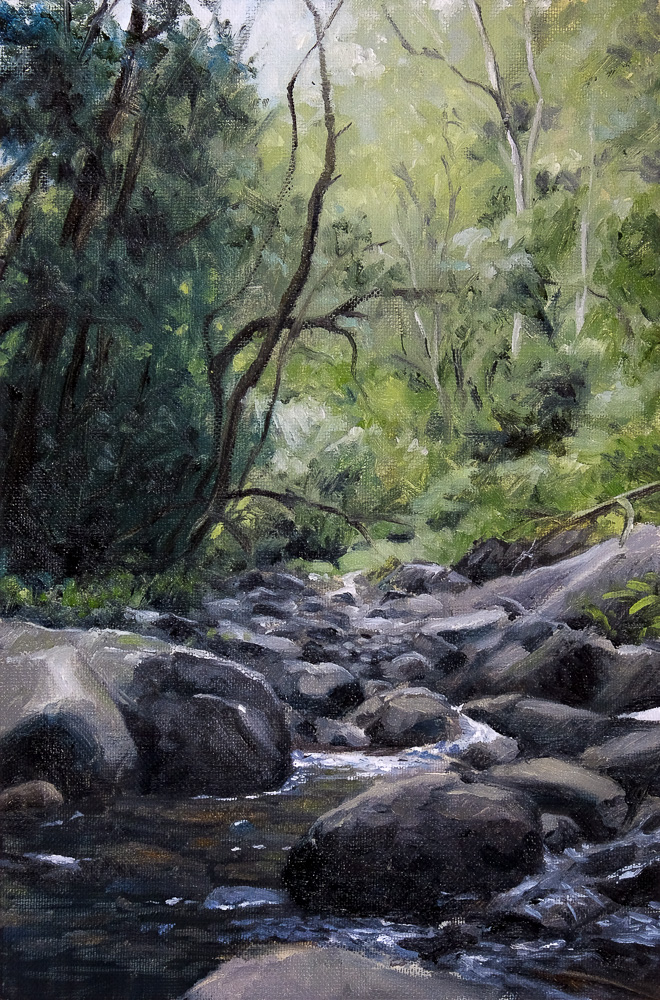 Oil painting of a river stream in the Drakensberg