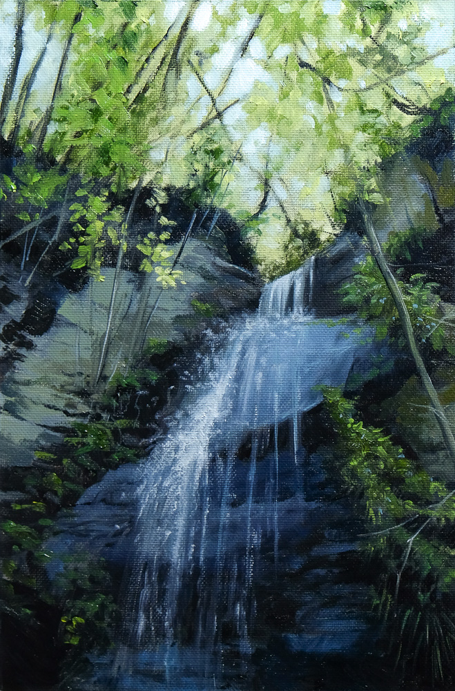 Oil painting of a Waterfall