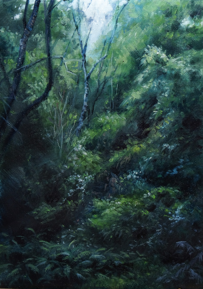 Oil painting of a Drakensberg Forest