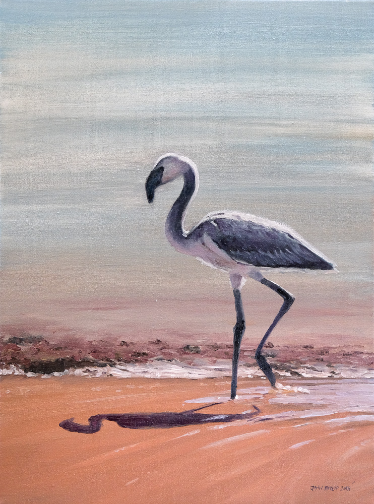 Oil painting of a flamingo