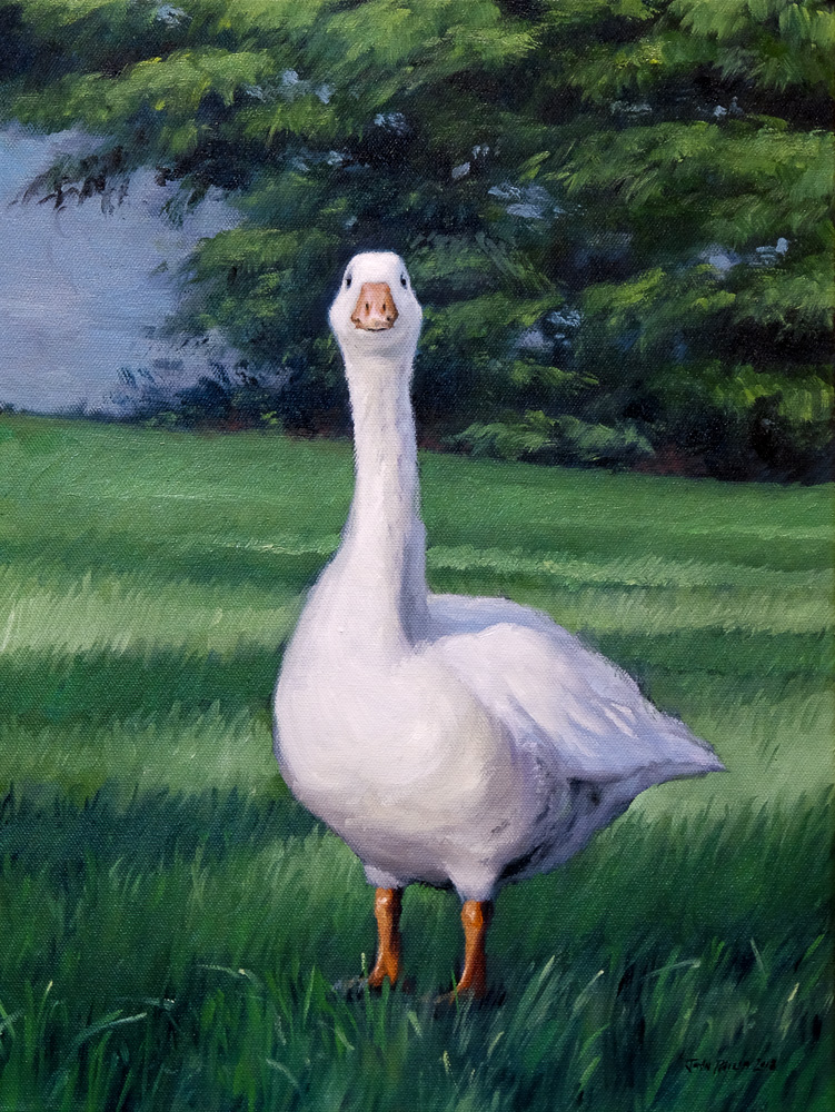 Oil painting of a goose