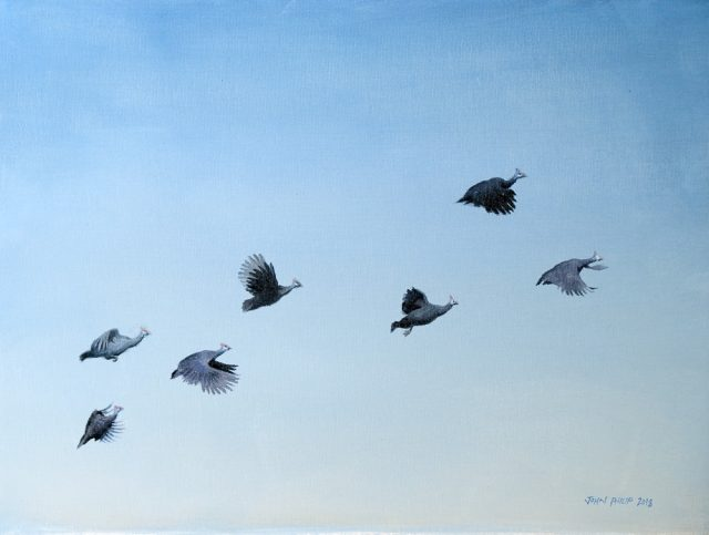Oil Painting of a flock of Guinea fowl flighing