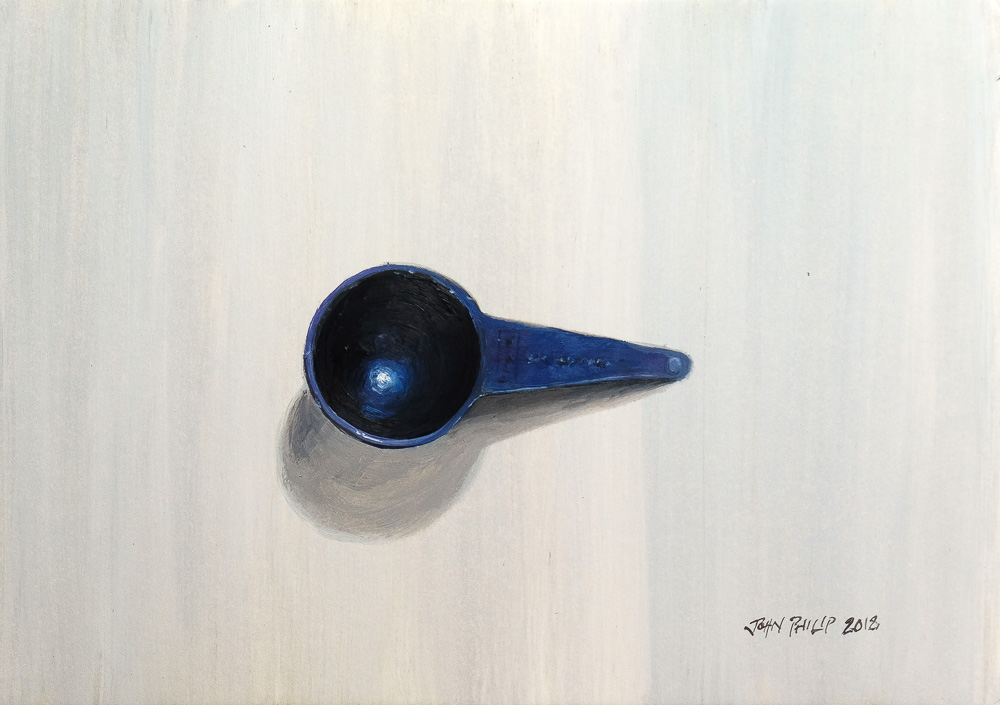 Oil painting of a plastic coffee spoon