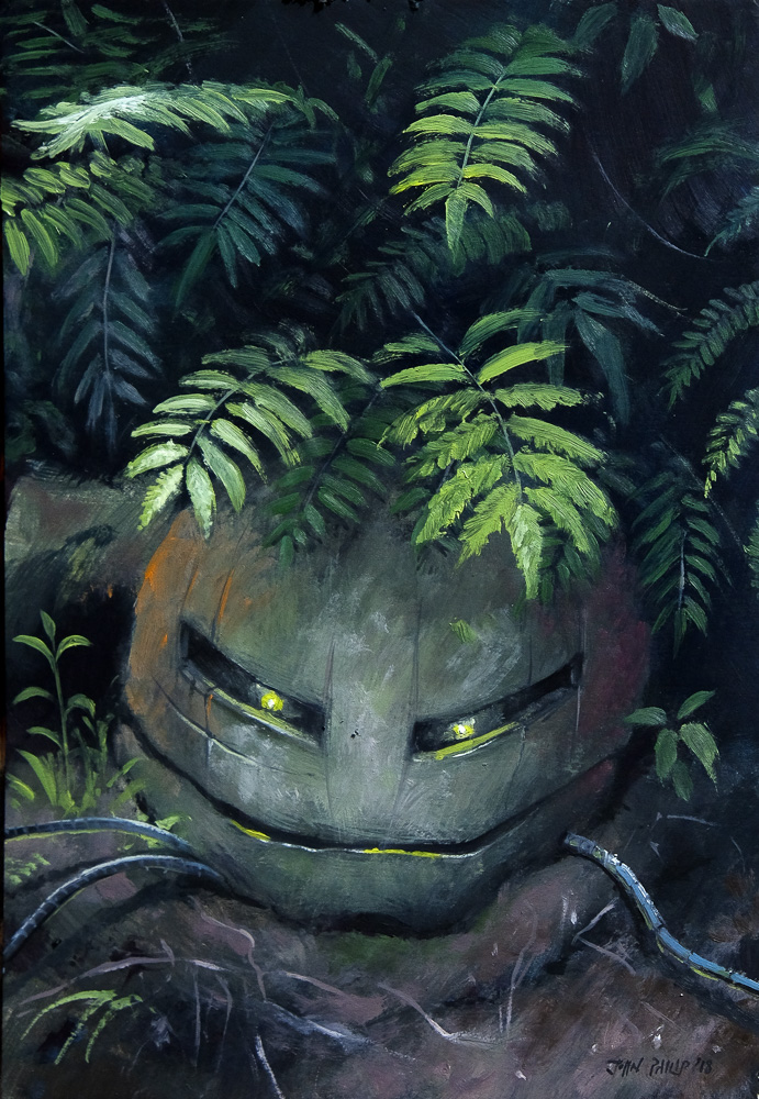 Oil painting of a Robot hidden in a forest