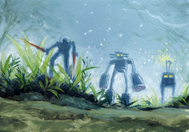 Oil painting of robots with plants.