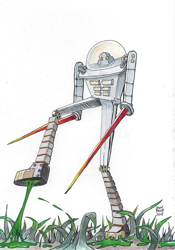Drawing of a Robot with goo stuck to his foot.