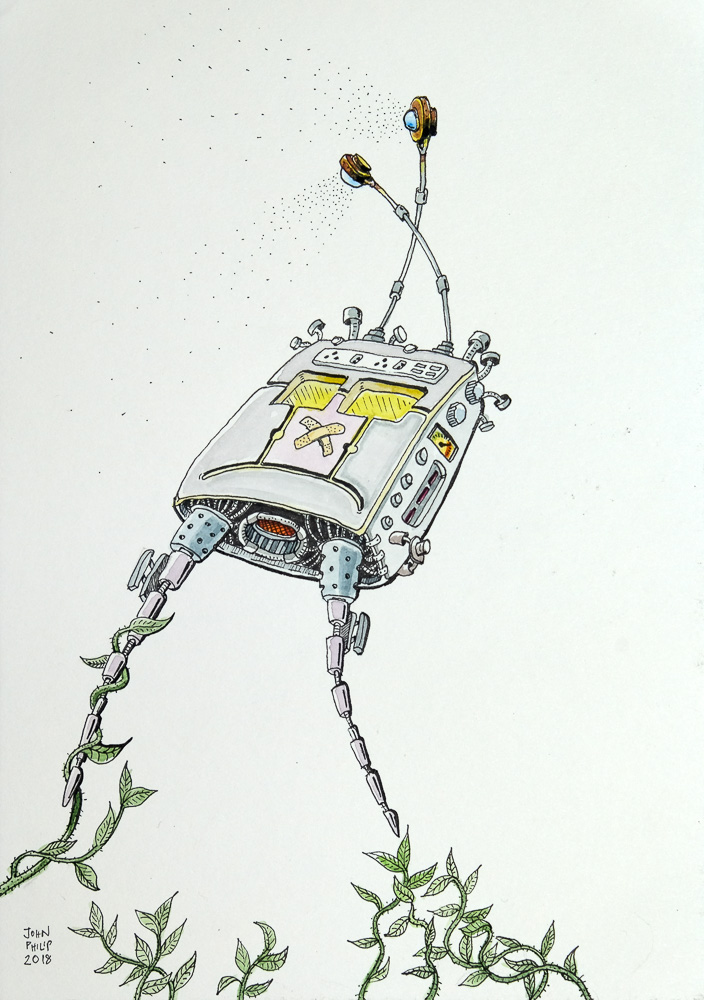 Drawing of a Robot captured by some plants