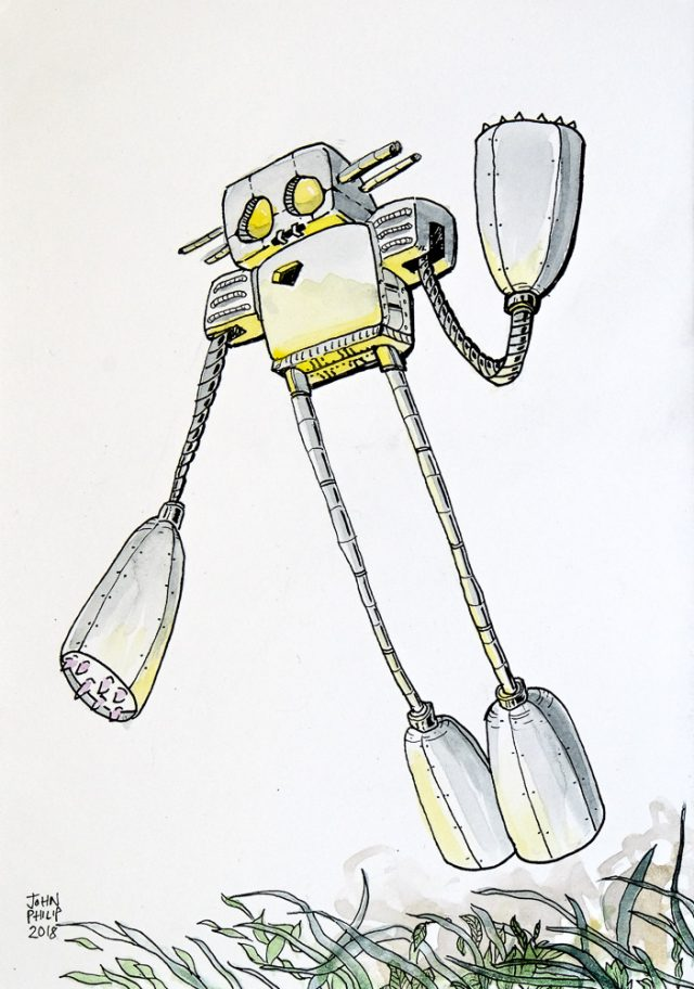 Drawing of a robot taking off