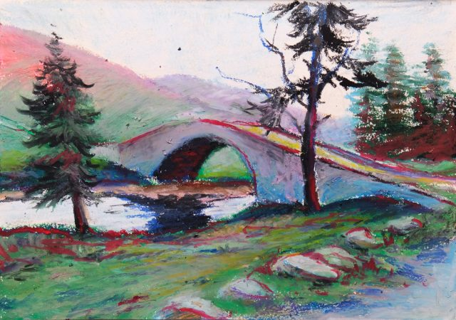 Oil Pastel of a bridge in Scotland