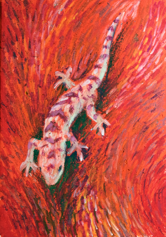 Oil Pastel drawing of a Gecko on red background