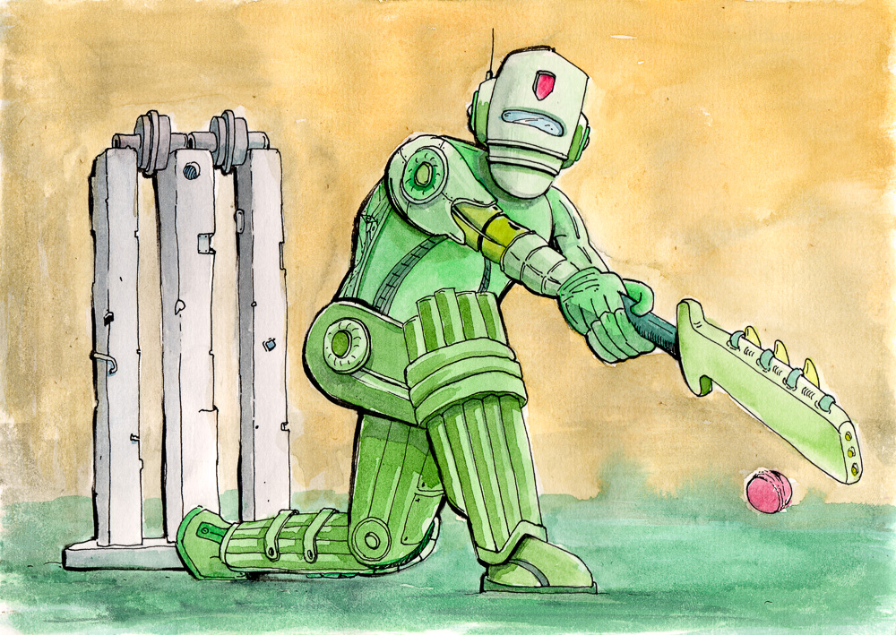 Painting of a robot cricketer