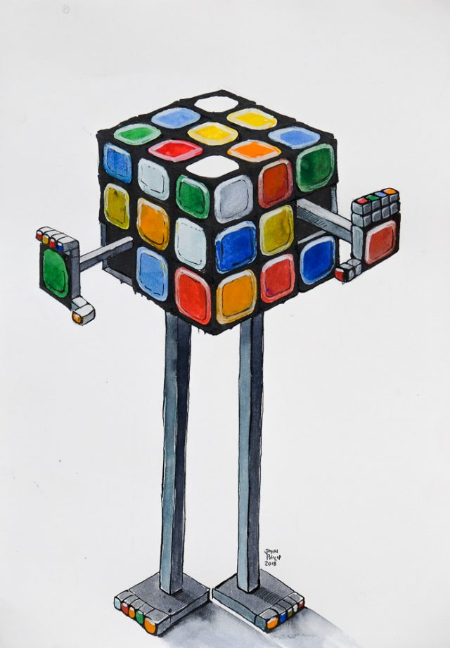 Drawing of a Rubiks Cube Robot