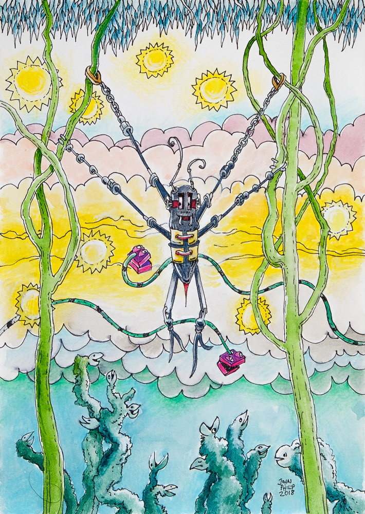 Drawing of a swinging spider robot