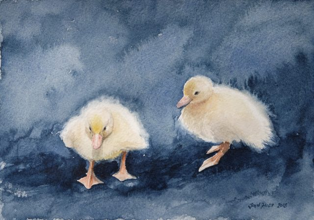 Painting of two young ducklings