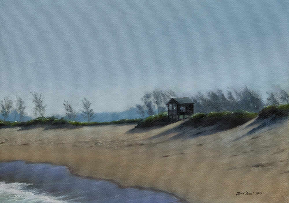 Oil Painting of a Beach Scene with little house